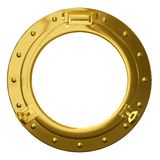 Isolated brass porthole royalty free stock photography