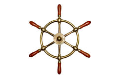 Isolated Brass Ship Wheel Royalty Free Stock Images