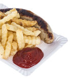 Isolated Bratwurst with French Fries Royalty Free Stock Images