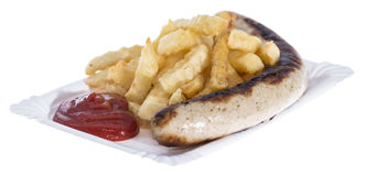 Isolated Bratwurst with French Fries Stock Images