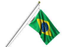 Isolated Brazilian Flag. Detailed 3d rendering of the flag of Brazil hanging on a flag pole isolated on a white background.  Flag has a fabric texture and a Royalty Free Stock Photos