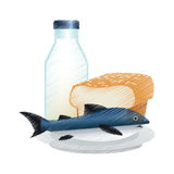 Isolated bread milk and fish design. Bread milk and fish icon. Healthy organic fresh and natural food theme. Isolated design. Vector illustration vector illustration