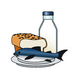 Isolated bread milk and fish design. Bread milk and fish icon. Healthy organic fresh and natural food theme. Isolated design. Vector illustration royalty free illustration