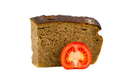 Isolated bread and tomato slice Stock Photos