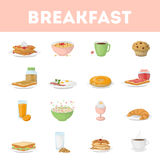 Isolated breakfast set. Isolated breakfast set on white background. All kinds f breakfast meals as oatmeal, juice, eggs and more Stock Photography