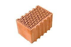Isolated brick. A real isolated red wall brick Stock Photo