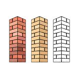 Isolated brick porch column variations. Brick porch column variations isolated on white background vector illustration vector illustration