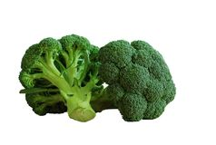 Isolated broccoli. Two fresh isolated broccoli vegetables on white backgroung Stock Photo