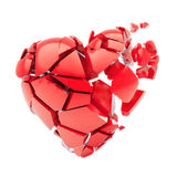 Isolated broken red heart. Flying parts of red 3d heart isolated on white background vector illustration