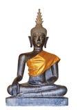 Isolated bronze buddha statue on white Royalty Free Stock Photos