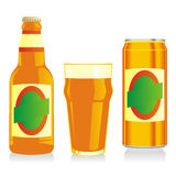 Isolated brown beer bottle, glass and can. Vector illustration of Stock Image