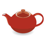 Isolated Brown Clay Tea Pot, Vector Illustration Stock Photography