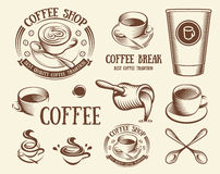 Isolated brown color cup in retro style logos set, logotypes collection for coffee shop vector illustration. Stock Photography
