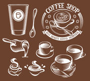 Isolated brown color cup in retro style logos set, logotypes collection for coffee shop vector illustration. Royalty Free Stock Image