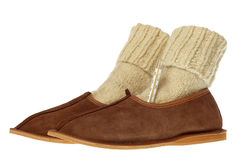 Isolated brown comfortable slippers Royalty Free Stock Photos