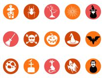 Brown Halloween round button icons set vector illustration