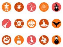 Brown Halloween round button icons set Stock Image