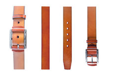 Isolated Brown Leather Belts and Buckles Royalty Free Stock Photos