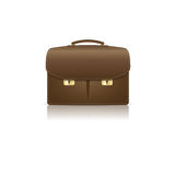 Isolated  brown leather briefcase made from  croco Royalty Free Stock Photo