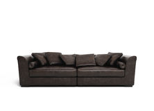 Isolated brown leather sofa Royalty Free Stock Photography