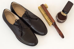 Isolated brown shoes and means on care of footwear. Royalty Free Stock Images