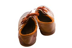 Isolated brown student shoes royalty free stock photo