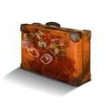 Isolated brown suitcase with labels on white background.vector illustration Stock Photography