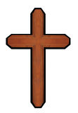 Isolated brown wooden ornate walnut cross christian symbol of resurrection Stock Photos