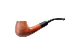 Isolated brown wooden pipe. Isolated brown wooden tobacco pipe on white background Stock Images
