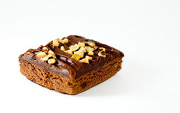 Isolated brownie with nuts Royalty Free Stock Image