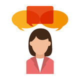 Isolated bubble and avatar woman design. Bubble and avatar woman icon. Communication message discussion and conversation theme. Isolated design. Vector vector illustration