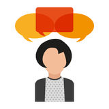 Isolated bubble and avatar woman design. Bubble and avatar woman icon. Communication message discussion and conversation theme. Isolated design. Vector stock illustration