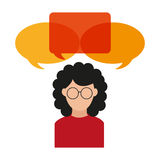 Isolated bubble and avatar woman design. Bubble and avatar woman icon. Communication message discussion and conversation theme. Isolated design. Vector royalty free illustration
