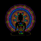 Isolated Buddha Silhouette And Mandala Design. Royalty Free Stock Photos