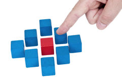 Isolated building blocks with pointing finger Royalty Free Stock Photos