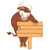 Isolated Bull with Banner Vector Illustration Stock Photo