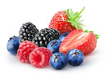 Isolated bunch of berries. Blackberry, raspberry, blueberry, strawberry fruits isolated on white background, with clipping path stock images