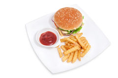 Isolated burger with fries Stock Photo