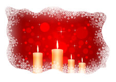 Isolated burning candles on dark red background Stock Images
