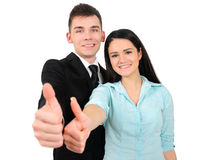 Isolated business couple Stock Photos