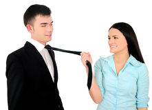 Isolated business couple Stock Images