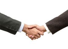Isolated business hand shaking stock photography