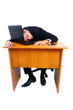 Isolated business man. Isolated young business man sleeping Stock Image