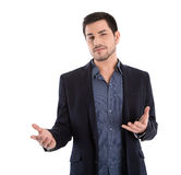 Isolated business man gesturing with his hands. Stock Photos