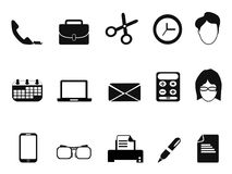 Business people office tools icons set royalty free illustration