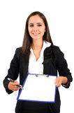 Isolated business woman. Isolated young business woman with notepad Royalty Free Stock Photo
