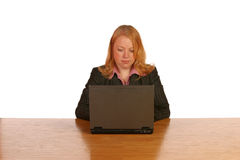 Isolated business woman. Looking satisfied Royalty Free Stock Photo