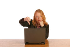 Isolated business woman. Working on laptop Royalty Free Stock Photos
