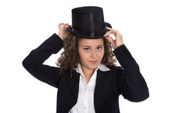 Isolated business woman with cylinder: concept for career. Stock Photo