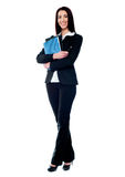 Isolated business woman holding documents Stock Photos